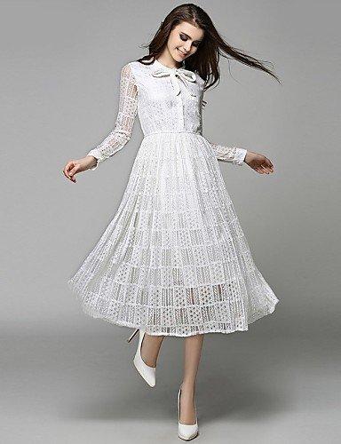 PU&PU Robe Aux femmes Swing Bohème,Couleur Pleine Noeud Midi Coton / Polyester , white-m , white-m