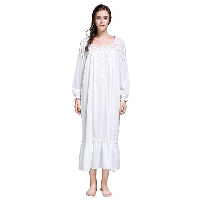 d644c0150c Dorekim Mujeres 100% algodón cómodo camisón blanco manga larga cuello  cuadrado ropa de dormir DK7212