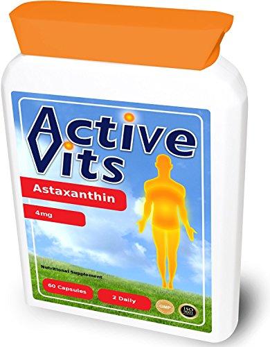 ActiveVits Natürliches Astaxanthin 4mg 60 Kapseln mit Natürlichen Antioxidantien