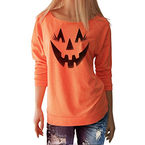 GBSELL Women Girl Halloween Costumes Pumpkin Print Long Sleeve Pullover Tops Blouse Shirt (print 2, L)
