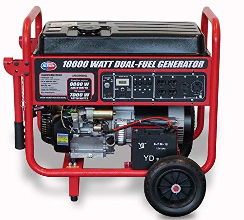 All Power America 10000 Watt Dual Fuel Generator w/ Electric Start, APGG10000GL 10000W Gas/Propane Portable Generator, Red/Black ()