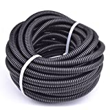 """30FT Polypropylene Split Wire Loom Tubing Computer Cable Management Wire Cover Electrical Cord Hider Hose Protector Prevent Chewing Tube (1/4"""" (6.5mm))"""