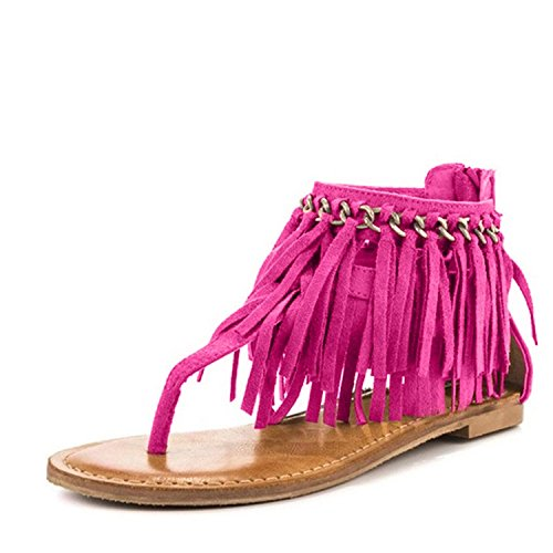 YDN Women Flip Flops Sandals Fringes Thong Flats Shoes Suede Tassels Metal Chain Hotpink 8