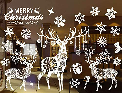 Sunm boutique Christmas Window Clings Decal Wall Stickers Christmas Decorations Removable Art Decor DIY Christmas Tree Snowflake Wall Decal