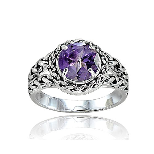Sterling Silver Amethyst Round Oxidized Rope Split Shank Ring, Size (Silver Amethyst Rope)