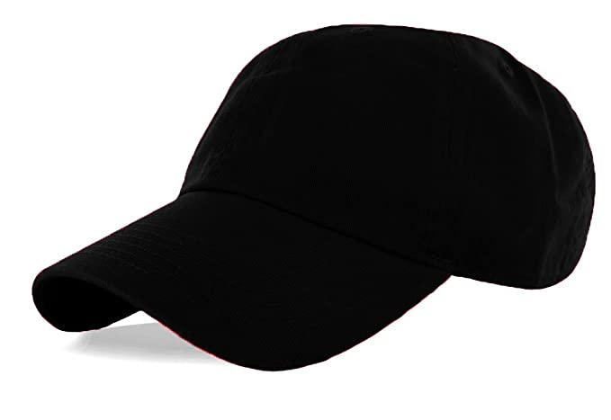 La Gen Unisex Blank Washed Low Profile Cotton and Denim Baseball Cap Hat  (Black) 83b534e02b7