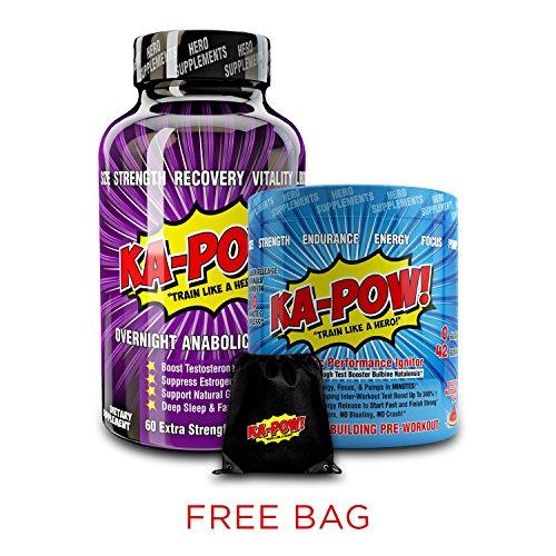 AM-PM Testosterone Boosting Stack Bundle - KA-POW! K.O. #1Overnight Testosterone (Pre Workout Stack)