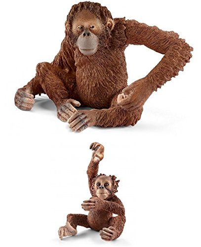 Schleich Wildlife Realistic Plastic Toys: Orangutan 14775 and Young 14776 Bagged Together Ready to Give Family of 2 Wild Life - Schleich Replica