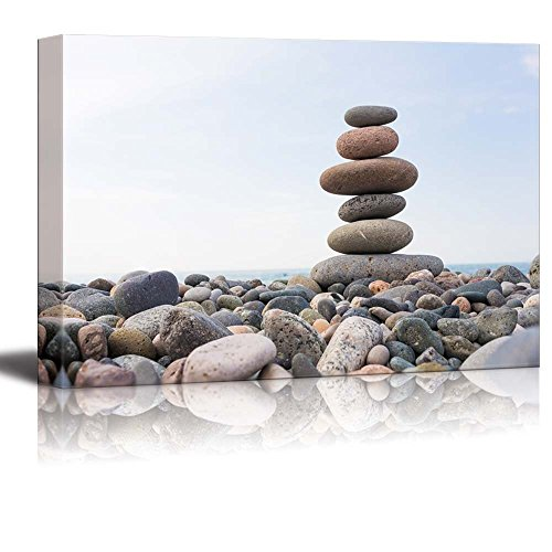 Zen Stones Balance Pebbles Stack over Blue Sea Wall Decor ation