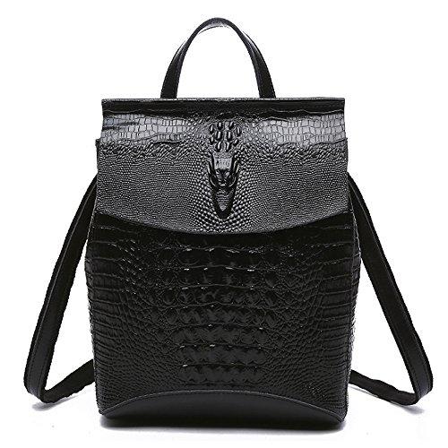 (JVP1092-C) sac à bandoulière sac à dos en peau de vache Luc 3way noir marron marine vin rouge grande capacité simple anneau étanche filles voyage Noir
