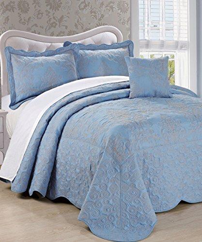 Serenta Damask 4 Piece Bedspread Set, King, Forget Me Not (Bedding Blue Damask)