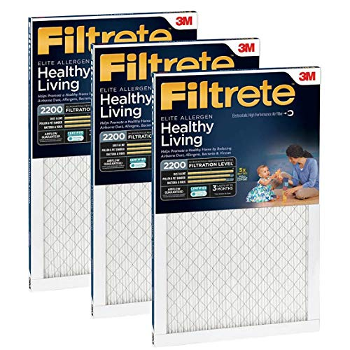 Filtrete MPR 2200 16 x 25 x 1 Healthy Living Elite Allergen Reduction HVAC Air Filter, Delivers Cleaner Air Throughout Your Home, 3-Pack by Filtrete