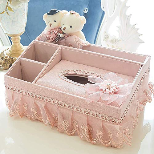 seemehappy Bears Lace Skirt Floral Tissue Box Cover With Multi-Function Organizer for Makeup Cosmetics Remote Control Phone Desk Storage Box Container (Pink)