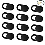 Webcam Cover (12 Pack) Allinko 0.03 inch Ultra Thin Laptop Camera Cover Slide for Computer MacBook Pro/Air iMac iPhone Phone PC Tablet Notebook Surface Pro Echo Show Camera Blocker Slider - Black