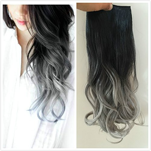 20 Inch long One Piece Clip in Hair extensions Ombre Wavy Curly (Chocolate brown to sandy blonde) DevaLook