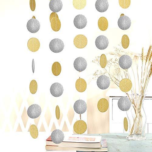 50 Feet Gold-Silver Paper Glitter Garland Circle Dots Decoration, 8.34 Feet Long*6 Birthday Wedding Celebration Glittery Paper Hanging for Party Decor (Gold&Silver)
