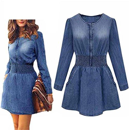 (sensitives Vintage Spring Women Long Sleeve Slim Casual Denim Jeans Party Mini Dress)