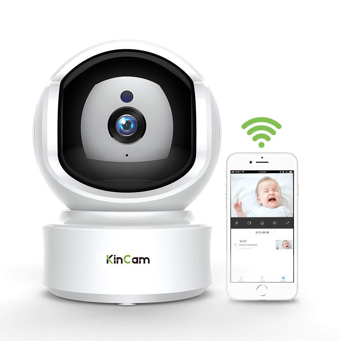 WiFi Kamera, KinCam 1080P IP Kamera HD WiFi Babyphone mit Bewegungserkennung, Nachtsicht, Zwei-Wege-Audio,Cloud Speicher Ideal fü r IOS, Android und WIN7 / 10
