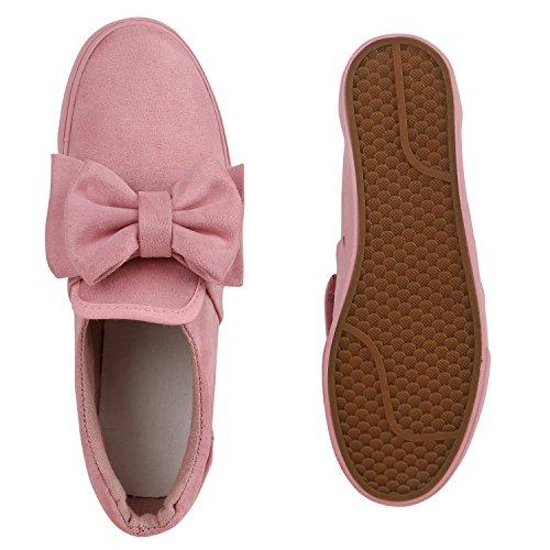 Stiefelparadies Bequeme Damen Slipper Sneaker Slip-Ons Leder-Optik Metallic Schuhe Schleifen Flats Denim Velours Flandell Rosa Velours Schleife