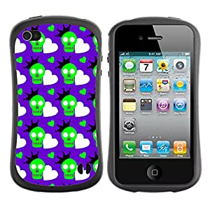 ArtSpace Premium Hybrid Back Case Cover Apple iPhone 4 / 4S ( Green Skull )