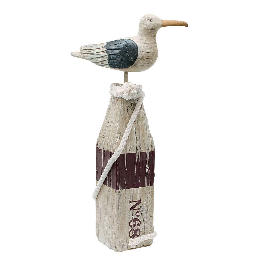 "Seagull Statue Decor Nautical Theme Sea Bird Sitting on a Pillar Hand Carved Seagull Figurine Home Decor, Resin, 15.5"" H (L)"