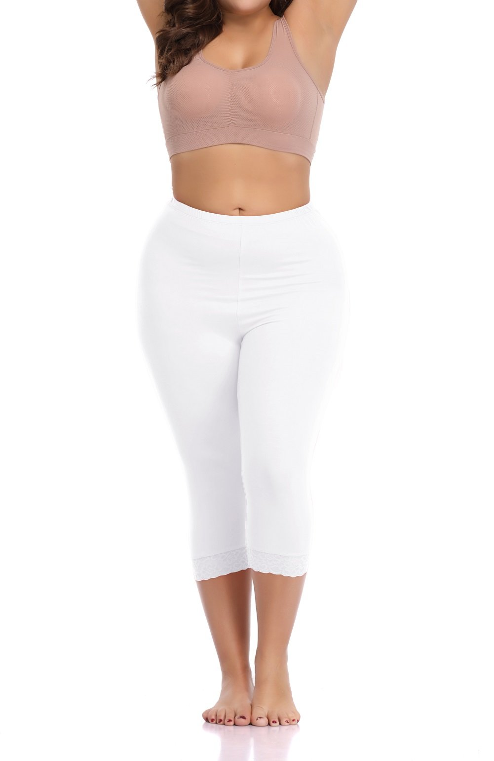 MINIVOG Women's Leggings Plus Size Stretchy Ultra Soft 3/4 Length Solid Capri with Lace Trim White XL