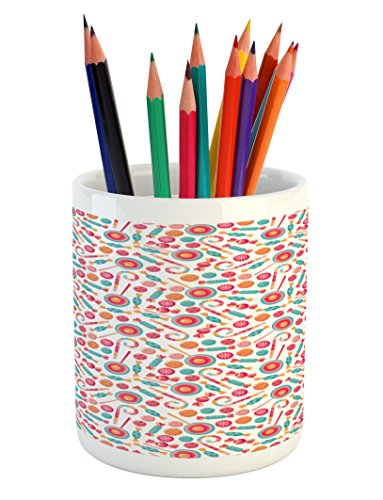 Ambesonne Candy Cane Pencil Pen Holder, Colorful Christmas L