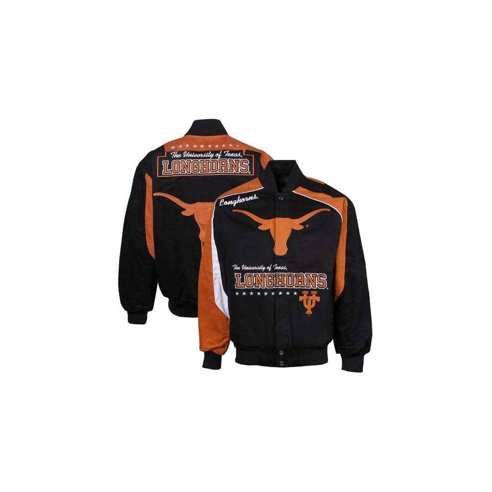 NCAA Texas Longhorns Black Burnt Orange Alumnis Choice Full Button Jacket