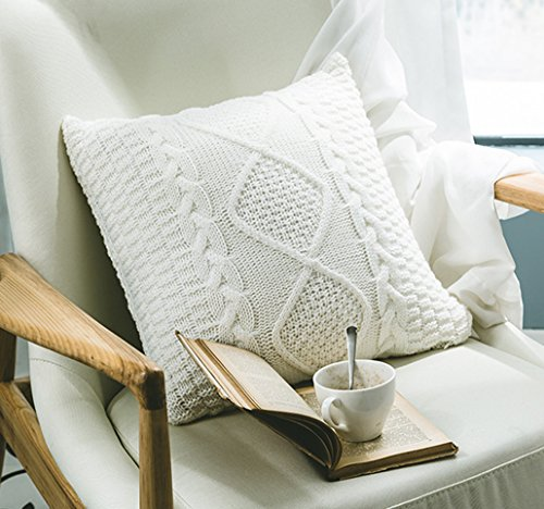 ANDUUNI Decorative Cotton Knitted Pillow Case Cushion Cover Double-Cable Knitting Patterns Soft Warm Throw Pillow Covers (Cover Only, ()