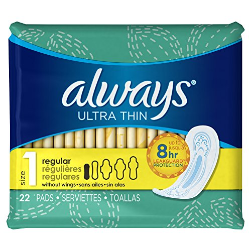 Always Ultra Thin Size 1 Feminine Pads without Wings, Regular Absorbency, Unscented, 22 Count - Pack of 4 (88 Total Count)