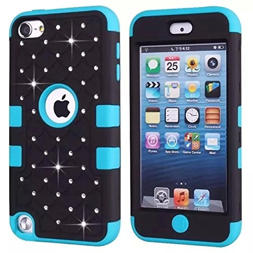 iPod Touch 5 Generation Case,Touch 5 Case,Lantier [Crystal Bling][Diamond Design][Soft Hard Tough Case] Hybrid Armor Case Cover for Apple iPod Touch 5 Black/Blue