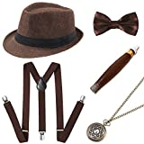 BABEYOND 1920s Mens Gatsby Gangster Costume Accessories Set Panama Hat Suspender (Brown Set)