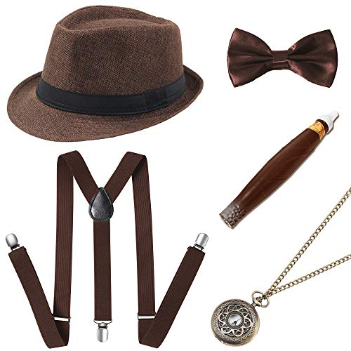 BABEYOND 1920s Mens Gatsby Costume Accessories Set 30s Panama Hat Elastic Y-Back Suspender Pre Tied Bow Tie Pocket Watch and Plastic Cigar (Brown Set)