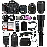 """Nikon D750 DSLR SLR Digital Camera + 18-55mm VR II + 6.5mm Fisheye + 55-300mm VR + 650-2600mm Lens + Filters + 128GB Memory + Action Stabilizer + i-TTL Autofocus Flash + Backpack + Case + 70"""" Tripod"""