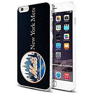 MLB New York Mets Baseball,Cool iPhone 4/4s (6+ , ) Smartphone Case Cover Collector iphone TPU Rubber Case White
