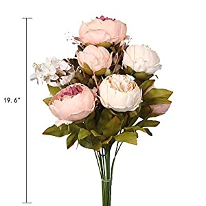 Shengyuan Artificial Flowers Fake Silk Peony Flower Bouquet Floral Plants Decor for Home Garden Wedding Party Decor Decoration,Light Pink 2