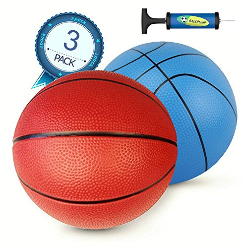 "MICROFIRE Pool Basketball Replacement 8 inch Inflatable Ball Set Swimming Pool Water Kids Toy Indoor Outdoor Soft Durable Pump Toddler Adults (2 balls 1 pump) (8"" basketball set)"