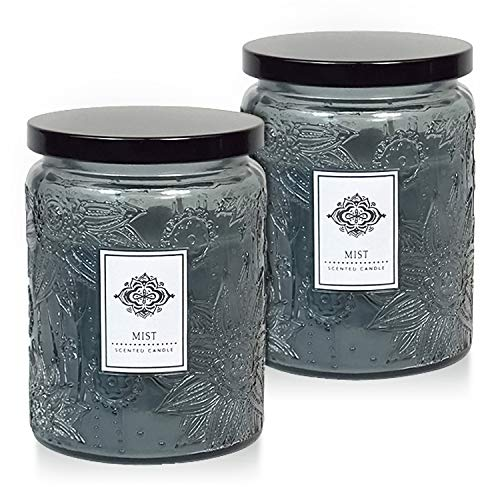 Dynamic Collections Aromatherapy Scented Candles - Great for Minimalistic Home Decor, Stress Relief, and Gift Set of Two 16 Ounce Mason Jar Candles (Mist) ()