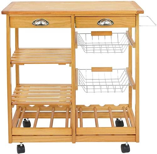 HomGarden Wood Rolling Kitchen Island Storage Cart Dining Trolley Microwave Cart w/Drawer Shelves Basket Stand Counter Top Table