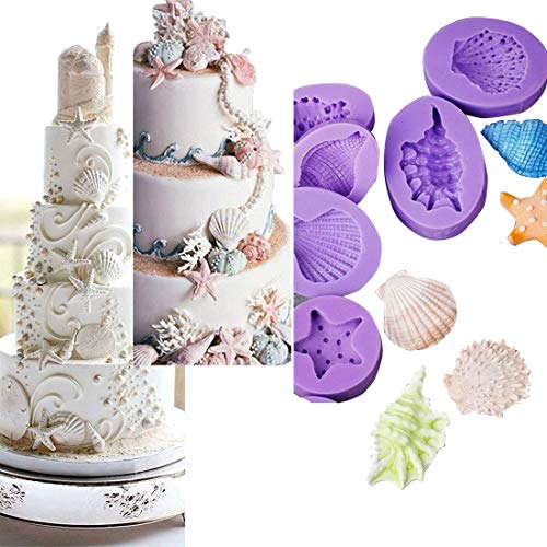 Anyana Seashell Starfish Sea Urchin Seagull mold Fondant silicone Mould for gum paste Sugar paste cake decorating cupcake topper decor set of 7pcs (Beach Theme Candy Molds)