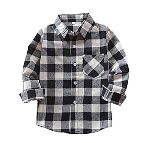 Kids Flannel Sleeve Long (Qin.Orianna Little Kids Classic Long Sleeve Button Down FlannelPlaid Shirt (4T, E004))