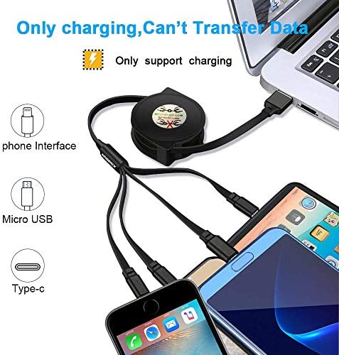 Apple and Type-C for Mobile Phones and Tablets August Burns Red 3-in-1 Retractable Multi-Function Charging Cable for Android