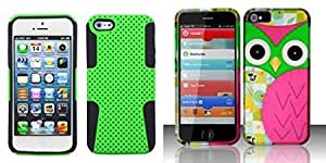 Combo pack ASMYNA Green/Black Astronoot Phone Protector Cover for APPLE iPhone 5 And For iPhone 5 - Rubberized Design Cover - Owl