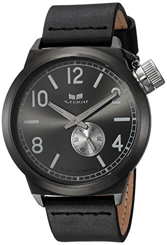 Vestal Quartz Stainless Steel and Leather Dress Watch, Color:Black (Model: CNT453L04.BK)