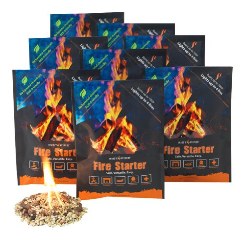 InstaFire Granulated Fire Starter, All Natural, Eco-Friendly, Lights Fires in Any Weather – 4 Fires Per Pouch, Awarded 2017 Fire Starter Of The Year