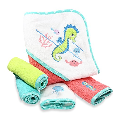 Spasilk 100% Cotton Hooded Terry Bath Towel with 4 Washcloths, Aqua Seahorse -
