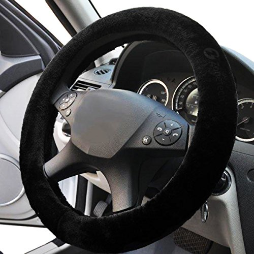 Zone Tech Plush Stretch- On Vehicle Steering Wheel Cover Classic Black Car Wheel Protector -