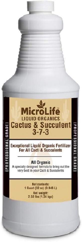 MicroLife Cactus & Succulent (3-7-3) Professional Grade Organic Liquid Fertilizer Concentrate, 1 Quart