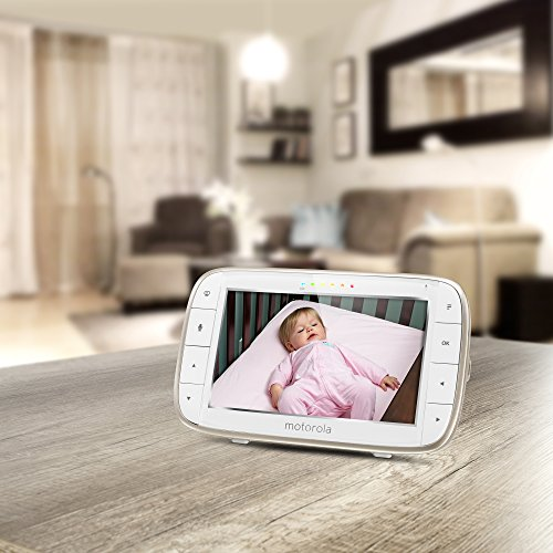 51 mgEHZOCL - Motorola Video Baby Monitor - 2 Wide Angle HD Cameras With Infrared Night Vision And Remote Pan, Tilt, Zoom - 5-Inch LCD Color Display With Split Screen View, Room Temperature And Sound Alert MBP50-G2