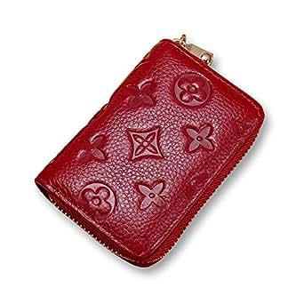 Auner Women RFID Blocking Credit Card Holder Leather Cute Small Zipper Wallet - Red - Medium